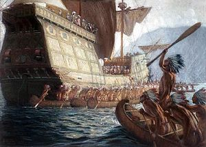 Painting showing the arrival of Samuel de Cham...