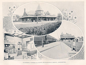 English: Postcard of the old Santa Fe depot in...