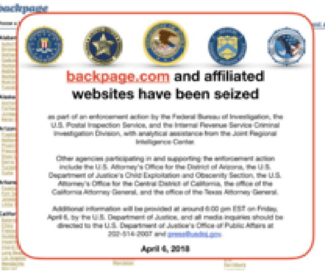 Screenshot Of The Webpage On April 13 2018 Following The Seizure Of Backpage A Week Earlier