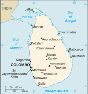 An enlargeable basic map of Sri Lanka