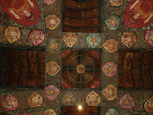 English: The ceiling of Watts Mortuary Chapel ...