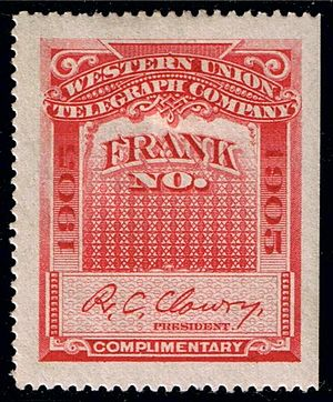 English: 1905 telegraph stamp of Western Union.