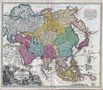 Geography of Asia   Wikipedia Recentissima Asiae Delineatio  the 1730 geographical map of Johan Christoph  Homann  Asia is shown in color  The names are in Latin