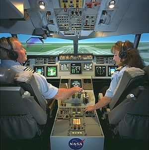 Interior cockpit of a twinjet flight simulator