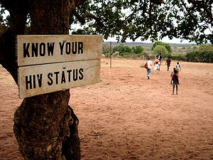 English: Sign: Know your HIV status in Zambia,...