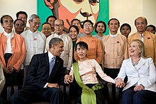 U.S. President Barack Obama and Secretary of State Hillary Clinton with Suu Kyi and her staff at her home in Yangon, 2012