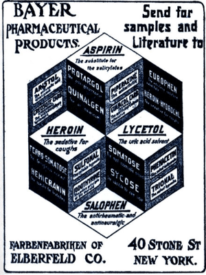 English: Old advertisement for Bayer pharmaceu...