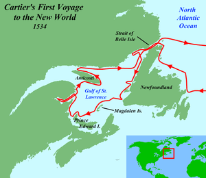English: Map of Jacques Cartier's first voyage...