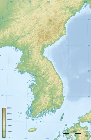 English: Topographic map of Korean Peninsula. ...