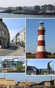 Plymouth   Wikipedia Clockwise from top  West Hoe  Smeaton s Tower  University of Plymouth   Royal William