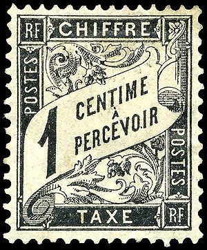 A French 1-centime postage due stamp from 1882.