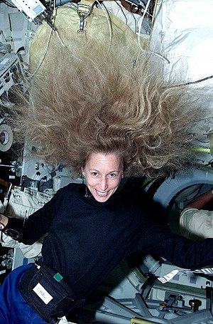 Astronaut Marsha Ivins experiencing weightless...