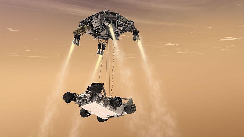 Curiosity aterrizando en Marte