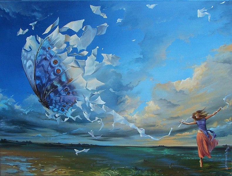 oil painting on linen, butterfly effect,haibun, haiku,memory