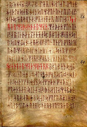 English: AM 28 8vo, known as Codex runicus, a ...