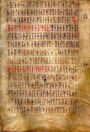 English: AM 28 8vo, known as Codex runicus, a ...