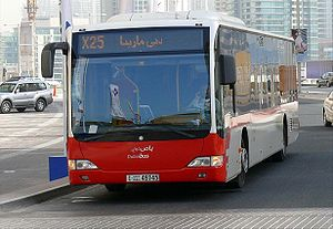 This is a photo of a Dubai Bus (Route X25), si...