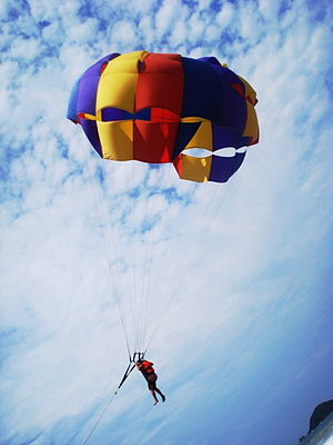 English: Parachuting