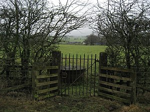 English: Gate in Hedgerow near Page Fold Curio...