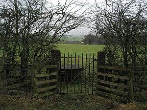 English: Gate in Hedgerow near Page Fold Curio...