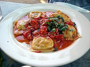 English: Ravioli Marinara (Mangia Trattoria)