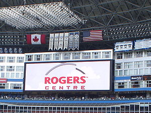 Main video board at the Rogers Centre, showing...