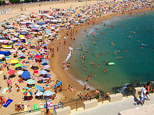 """A typical crowded beach in """"tosse de mar&..."""