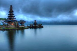 Ulun Danu Temple, located in Bratan Lake