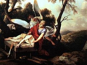 Sacrificio de Isaac.Laurent de LaHire (1650). En el Museo de Bellas Artes de Nueva Orleans.