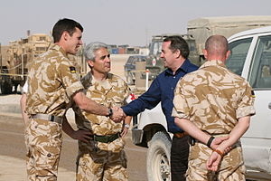 Dr Liam Fox MP visiting British troops in Kand...