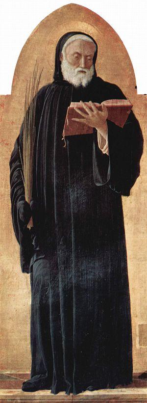 Saint Lucas altarpiece, detail: Saint Benedict...