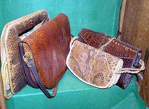 Crocodile skin handbags in a conservation exhi...