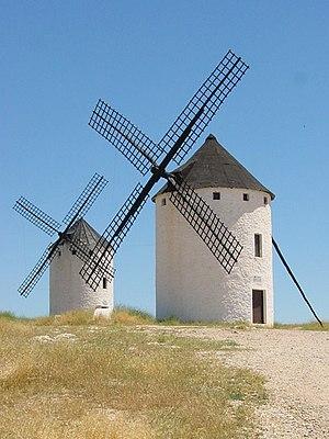 Español: Molinos de viento en Campo de Criptan...