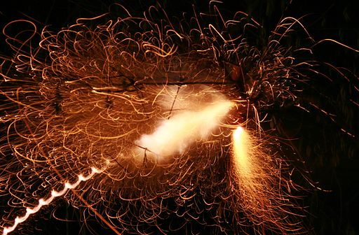 Firecrackers exploding in the air