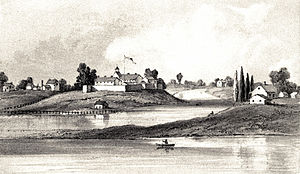 English: Engraving showing Fort Dearcorn, Chic...