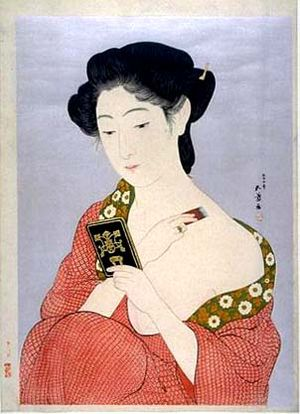 Woman Applying Powder by Hashiguchi Goyō, 1918