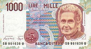 English: Italy 1000 lira
