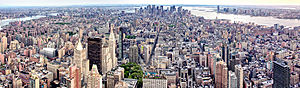 English: Panoramic View of Manhattan from the ...
