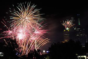 The 2008-09 Melbourne NYE fireworks, as seen f...