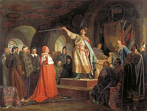 Roman of Halych receives an ambassador from Pope