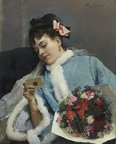 Raimundo de Madrazo y Garreta, The Love Letter (wik com), Technique Oil on canvas