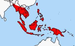 Penyebaran Tikus Polinesia di Asia Tenggara (warna merah)