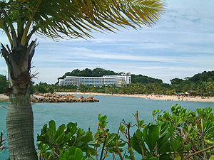 Siloso beach in Sentosa, with the Shangri-La R...