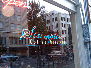 Stumptown Coffee Roasters sign in downtown Por...