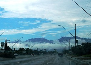 English: Monsoon clouds blanket the Santa Cata...