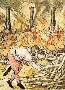 Hexenverbrennung 1587, dargestellt in der Wickiana