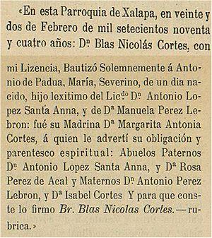Acta de Bautismo de Santa Anna