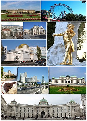 Collage of Vienna with pictures of Vienna City...