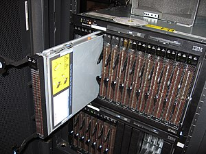 Front of an IBM bladecenter, with an HS20 serv...