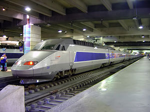 A TGV train inside Gare Montparnasse in Paris